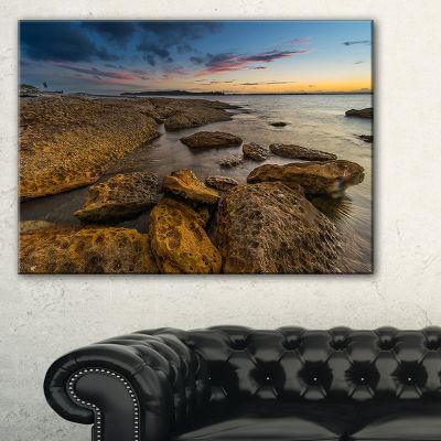 Designart Large Brown Rocks At Sydney Beach Canvas Art
