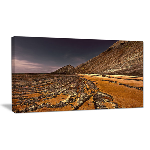 Designart Brown Rocky Coast Portugal Canvas Art