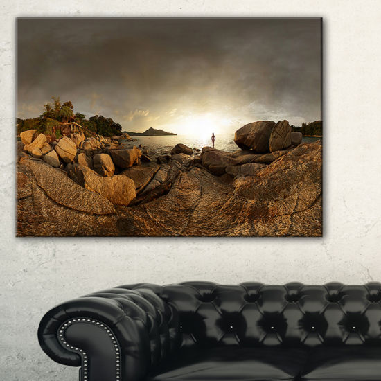 Designart Brown Rocky Forest Panorama Canvas Art