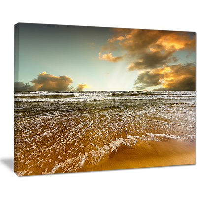 Designart Brown Tinged Beach And Cloudy Sky Canvas Art