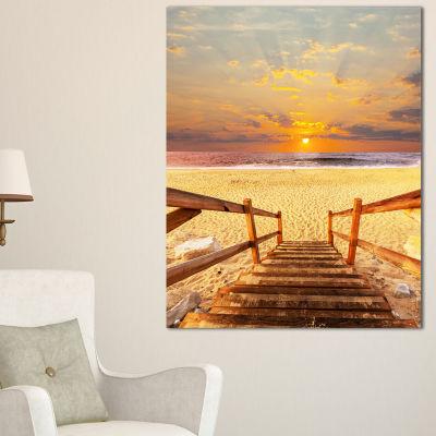 Designart Brown Wooden Boardwalk Into Beach Canvas Art