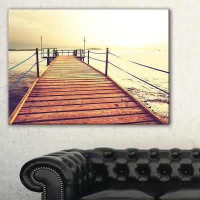 Designart Brown Wooden Boardwalk To The Sea Canvas Art