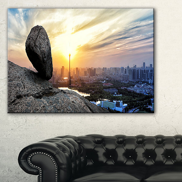Designart Buildings And Crag On Rock Panorama Canvas Art