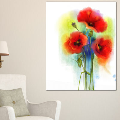 Designart Bunch Of Bright Red Poppy Flowers Canvas Art