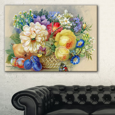 Designart Bunch Of Flowers And Fruits Canvas Art