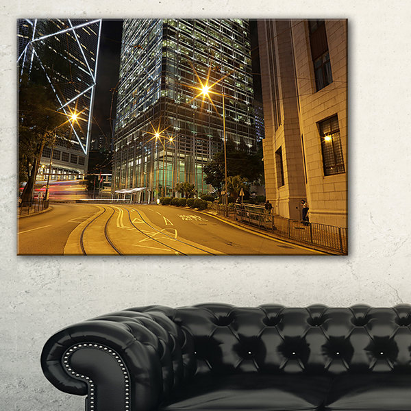 Designart Busy Traffic And City At Night Canvas Art