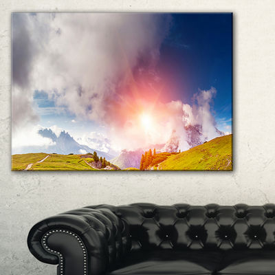 Designart Cadini Di Misurina Range At Sunset Canvas Art