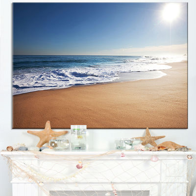 Designart Calm Blue Seashore With White Sun Canvas Art