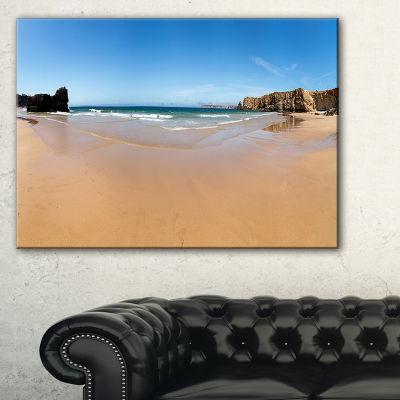 Designart Calm Sandy Coastline Panorama Canvas Art