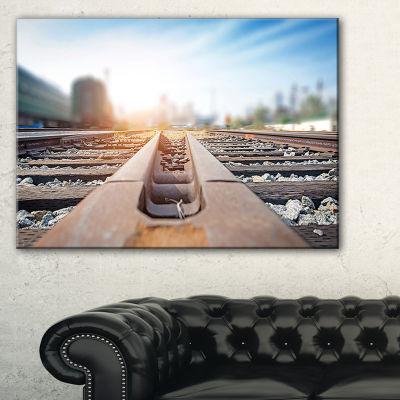 Designart Cargo Train Platform With Container Canvas Art