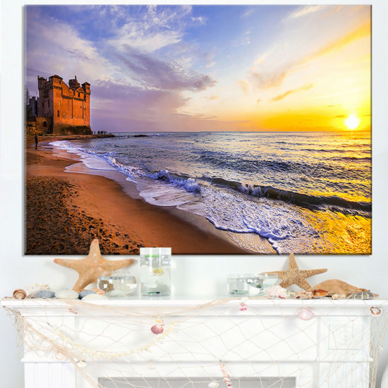 Designart Castle Santa Severa Over Sunset Italy Canvas Art