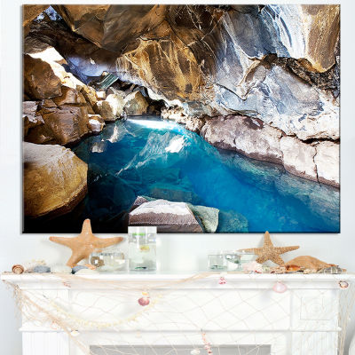 Designart Cave With Geothermal Hot Water Canvas Art