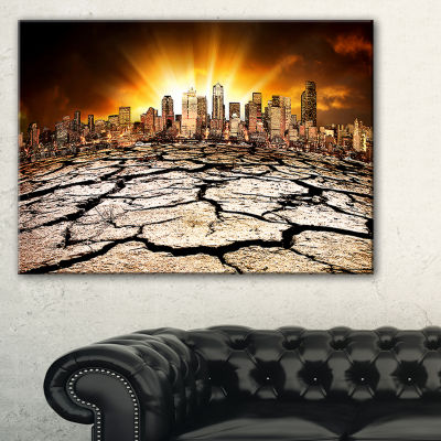 Designart City With Effect Of Climate Change Canvas Art
