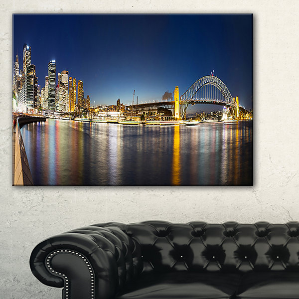 Designart Cityscape Sydney Nightfall Panorama Canvas Art
