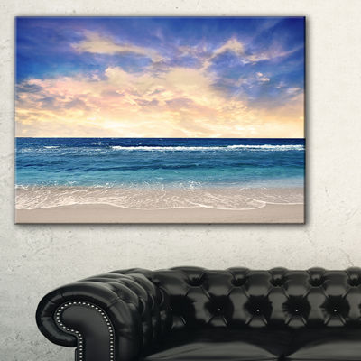 Designart Clear Blue Sky And Ocean At Sunset Canvas Art