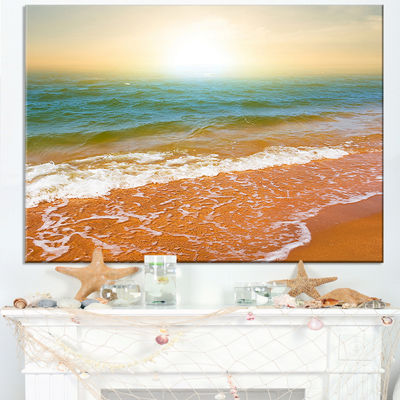 Designart Clear Waters In Early Morning Beach Canvas Art