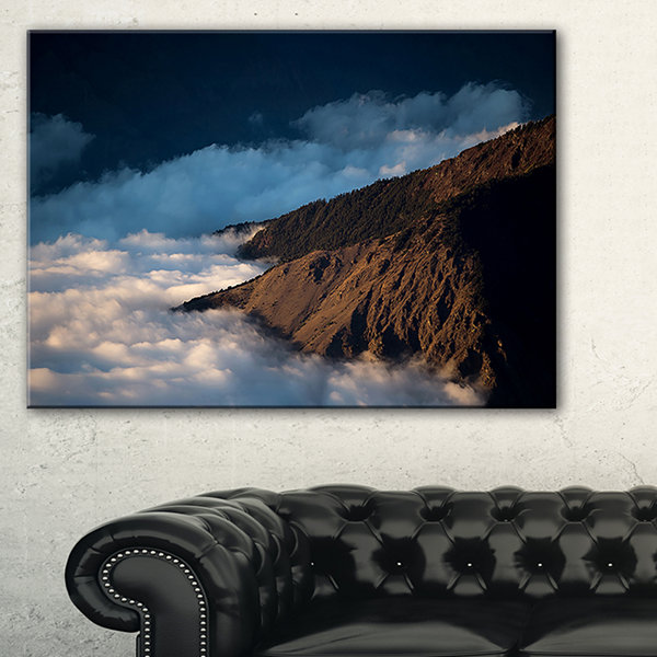 Designart Clouds At The Foot Of Hills Canvas Art