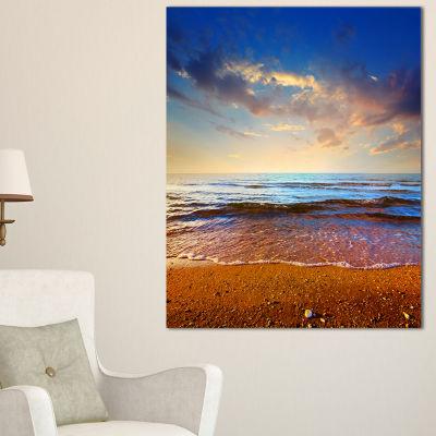 Designart Cloudy Skies With Vibrant Seashore Canvas Art