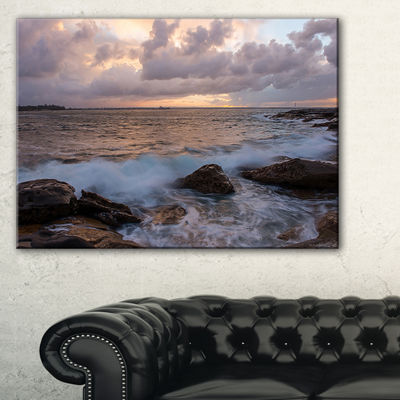 Designart Cloudy Sky And Stormy Waves In Sydney Canvas Art