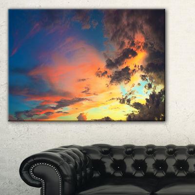 Designart Cloudy Sky At Sunset Panorama 3-pc. Canvas Art