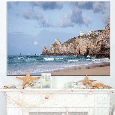 Designart Coastline With Lighthouse Panorama Canvas Art