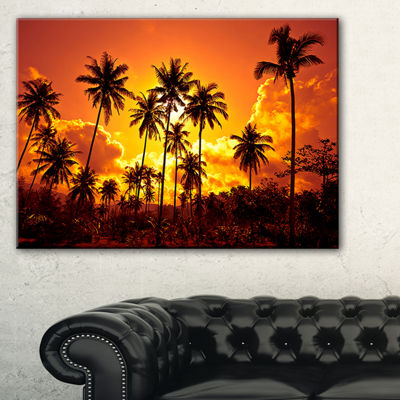 Designart Coconut Palms Against Yellow Sky Canvas Art