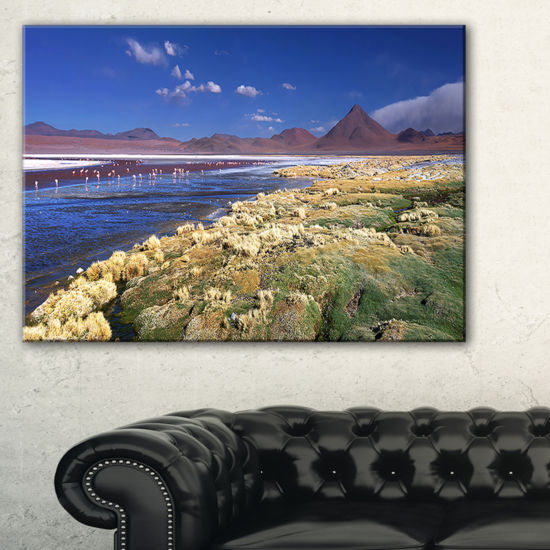 Designart Colorada Lagoon And Pabellon Volcano Canvas Art
