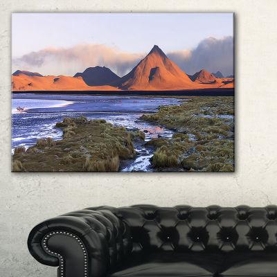 Designart Colorada Lagoon And Volcano Pabellon Canvas Art