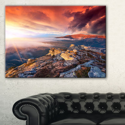 Designart Colorful Autumn Sky And Mountains 3-pc. Canvas Art