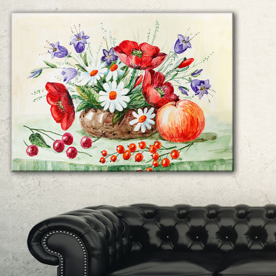 Designart Colorful Bunch Of Flowers And Fruits Canvas Art