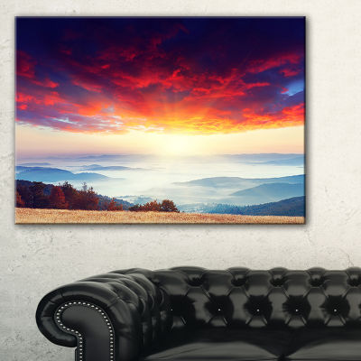 Designart Colorful Clouds And Foggy Hills Canvas Art