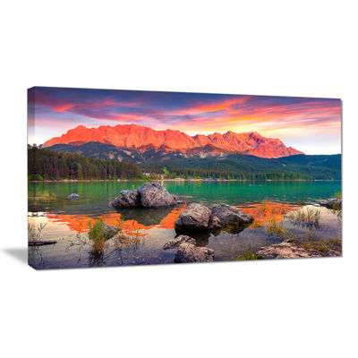 Designart Colorful Eibsee Lake Sunset Canvas Art