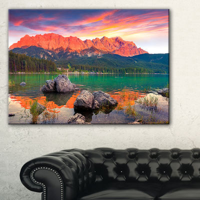 Designart Colorful Eibsee Lake Sunset Canvas Art