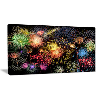 Designart Colorful Fireworks At Night Sky Canvas Art