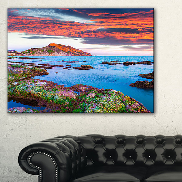 Designart Colorful Giollonardo Beach Sunset Canvas Art