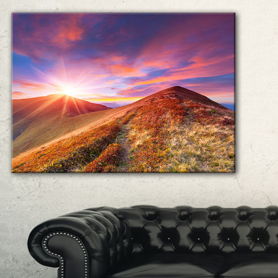 Designart Colorful Grass And Clouds Canvas Art