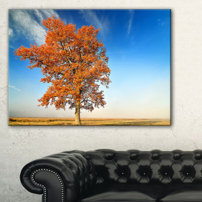 Designart Colorful Lonely Fall Tree Canvas Art