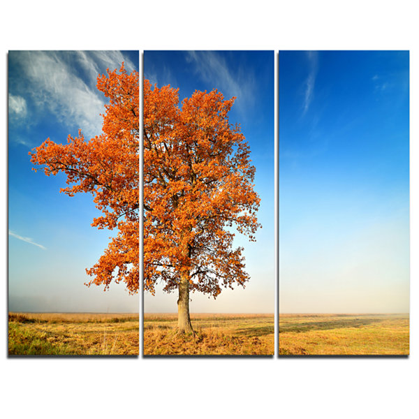 Designart Colorful Lonely Fall Tree 3-pc. Canvas Art