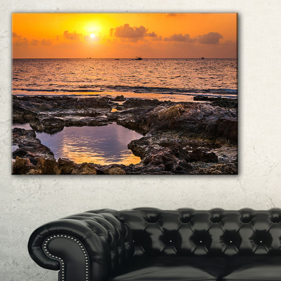 Designart Colorful Rocky Coast At Sunset Canvas Art