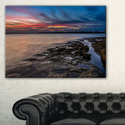 Designart Colorful Sky And Dark Rocky Sydney Coast Canvas Art