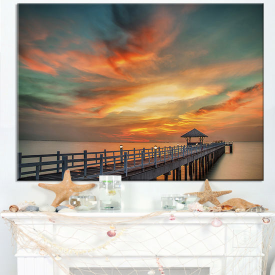 Designart Colorful Sky And Long Wooden Pier Canvas Art