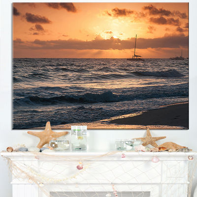 Designart Colorful Sunrise Over Atlantic Ocean Canvas Art