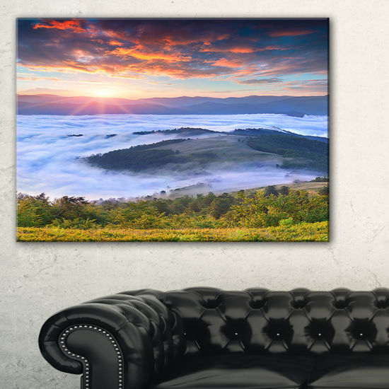 Designart Colorful Sunrise Over Foggy Waters Canvas Art