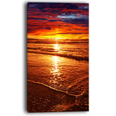 Designart Colorful Sunset Mirrored In Waters Canvas Art
