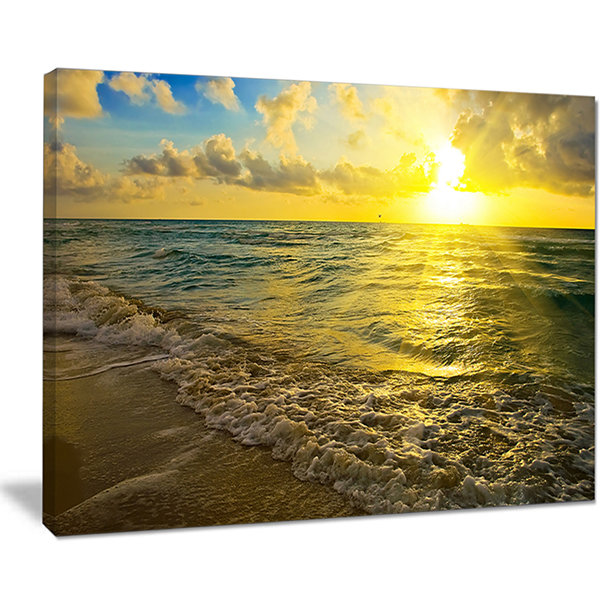 Designart Colorful Sunset Reflecting In Waters Canvas Art