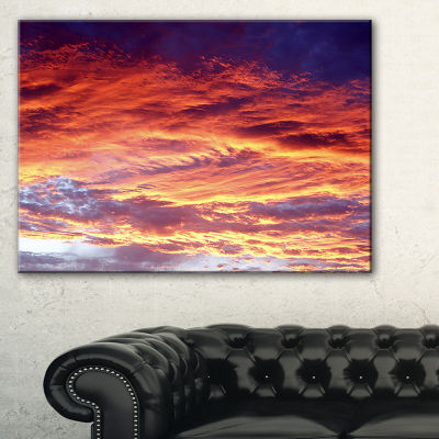 Designart Colorful Sunset Skies With Clouds Canvas Art