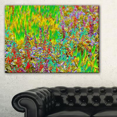 Designart Colorful Textured Flowerbed Canvas Art