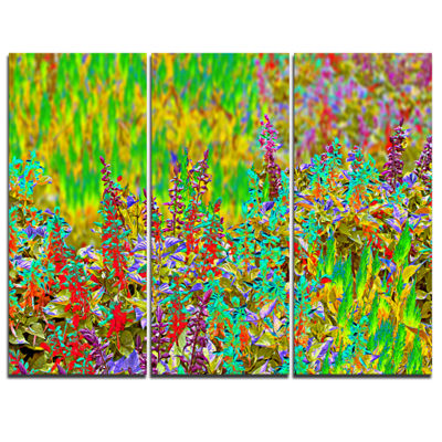 Designart Colorful Textured Flowerbed 3-pc. Canvas Art