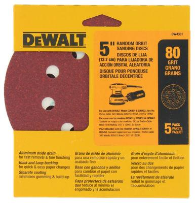"""Dewalt Dw4301 5"""" 80 Grit Random Orbit Sanding Discs"""""""