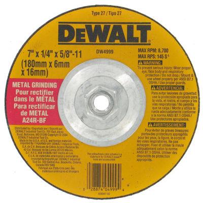 "Dewalt Dw4999 7"" 5/8""-11 Arbor Fast Cut Metal Depressed Center Grinding Wheel"